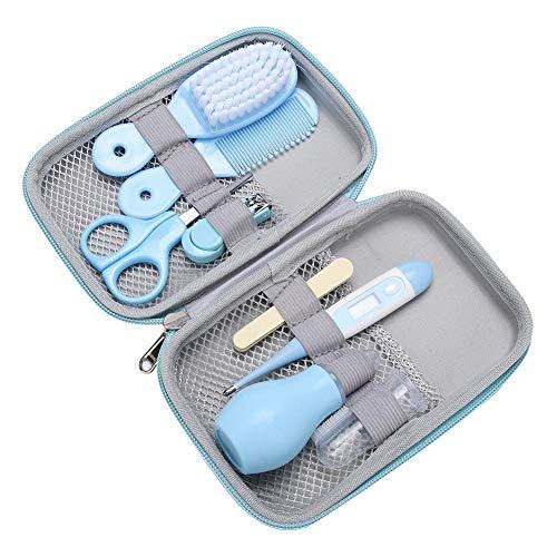 Babypflege Set, 8-teiliges Set für Baby wesentlich Bequem Täglich Nagelknipser Schere Haarbürste Kamm Maniküre Pflege Kit (Blau)