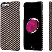 iPhone 7 Plus Hülle PITAKA Schutzhülle aus Aramid (Kugelsicheres Material) Hochwertige Dünne 0.65mm Case mit Schutzfolie, Schwarz/Rose Gold