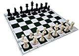 #6: Tournament Chess Set with Weighted Chessmen, Bag, and Roll-Up Vinyl Board with Green & Natural Squares