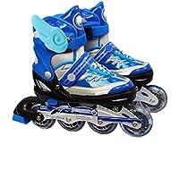 Patines En Línea Patines Para Niños Patines Para Niños Niños Y Niñas Patines Para Ruedas Zapatos Lisos Ajustables Deportes Al Aire Libre Seguros,Blue-L