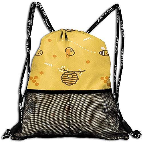 Nid d'abeilles avec le miel personnalisé volant mouche petit abeille cordon sac à dos maille sac unisexe pour le fitness de voyage
