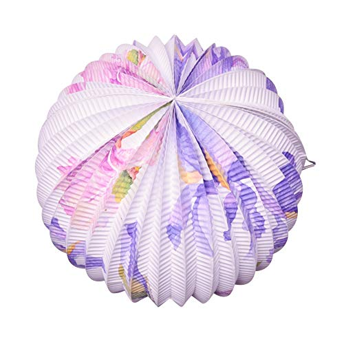 kordeon Plissee Papierlaternen Nautische Thema Party Dekoration Mediterranen Stil Blume Lila Party Supplies,B ()