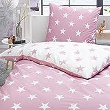 Trend Bettwäsche Set Sterne rosa weiß Wendeoptik 100% Baumwolle Perkal modernes Design, Größe:135x200 cm + 80x80 cm