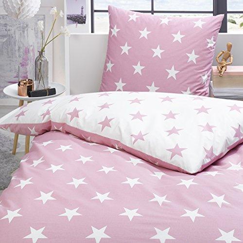 Trend Bettwäsche Set Sterne rosa weiß Wendeoptik 100% Baumwolle Perkal modernes Design, Größe:155x220 cm + 80x80 cm