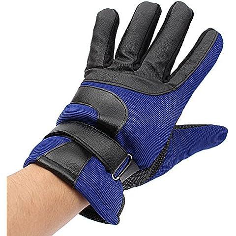 MaMaison007 Invierno bicicleta bici ciclismo esquí franela tela completo dedo guantes - azul