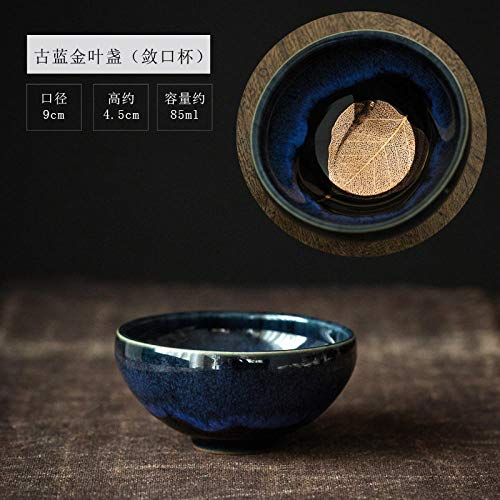 Powzz ornament Skulpturen Statuen Dekoartikel 盏 Kungfu Tee-Set Jianye Teacup Ceramic Tea 盏 Teeschale @ Ancient Blue (Holzblatt Cup) Tasse Blue Flora Cup