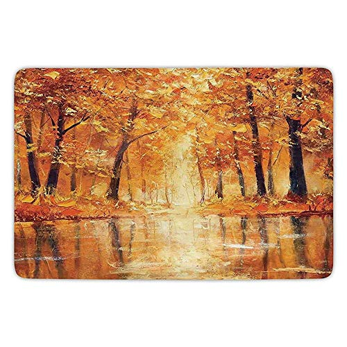 tchen Floor Mat Carpet,Country Decor,Painting of a Forest by the Small Lake in Autumn Pale Fall Trees and Leaves Mod Art,Orange Brown,Flannel Microfiber Non-slip Soft Absorbent ()