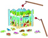 Angelspiel aus Holz incl. Namen - mit 15 Fischen - Holzaufsteller + 2 Stück Angel - angeln für Kinder - mit Magnet - Spiel Fischeangeln / Kinderspiel Spiel ma..