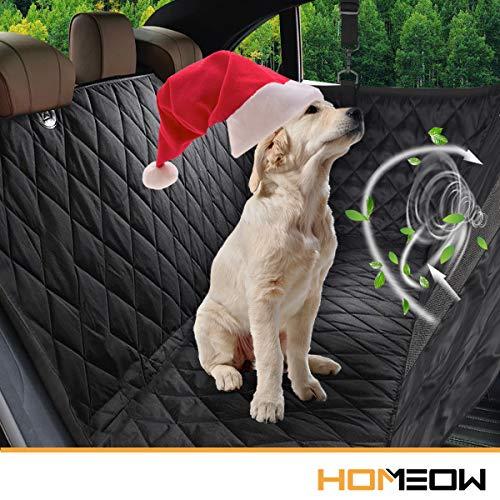 """Hunde Autoschondecke Rückbank,HOMEOW Autoschondecke Hund Rücksitz Hundedecke Auto Rückbank Kofferraum Hängematte für Hunde Seitenschutz Wasserdicht Autodecke mit Sichtbarem Fenster für Auto - 57\""""x53\"""""""