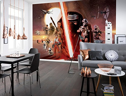 komar-star-wars-ep7-la-force-reveille-collage-papier-peint-en-vinyle-multicolore-lot-de-8