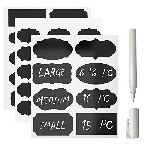 Giveet Chalkboard Label und weiße Kreide Marker, 73 Pack Premium wiederverwendbare Tafel Aufkleber mit 3MM weiße Kreide Marker für Home Office School Shops