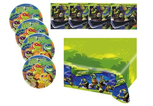 ag Feier Dekoration Set: Servietten Tischdecke große Teller 29 Teile für 8 Kinder Mutant Ninja Turtels ()