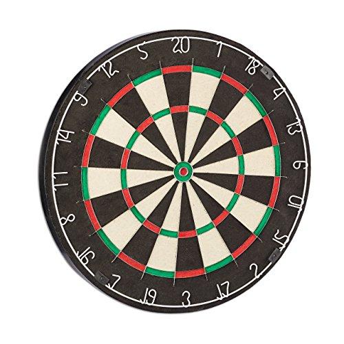 Relaxdays Dartscheibe Bristle Board X6, 45 cm, Naturfasern (Sisal), robustes Dartboard, klassisches Dartspiel, schwarz