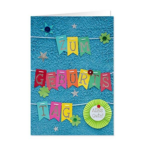 GRUSS & CO 90225 XL handmade Grußkarte, Geburtstag, 'Zum Geburtstag alles Gute', 42 cm x 30 cm, mit Kuvert