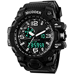 Mudder 5.5 cm/ 2.17 inch Big Dial Analog Digital Outdoor Sport Men Wrist Watch, Black