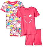 Spotted Zebra 4-Piece Snug-Fit Cotton Short Pajama Set, Pink Rainbow, X-Small (4-5)