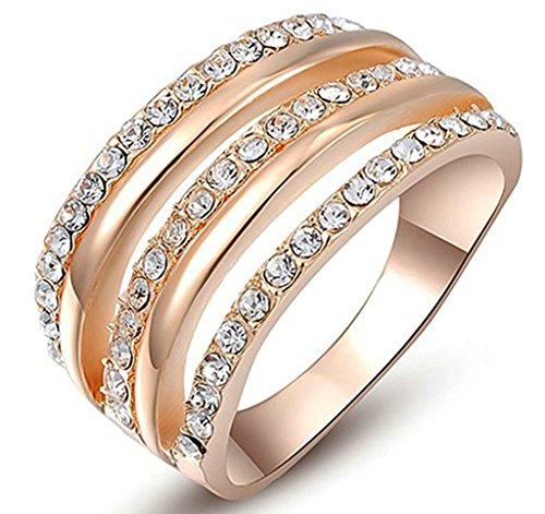 Gnzoe Schmuck, Damenring Vergoldet Hände Umarmung Cubic Zirkonia Gr. 57 (18.1) Rose Gold Trauringe für Damen