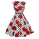 Lauzal 50s Retro Vintage Rockabilly Kleid Cocktailkleid Knielang Blumenprint Partykleid mit Gürtel Gr:-S, Farbe:-Bl-rot-rose