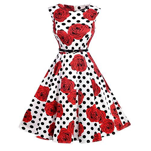 tage Rockabilly Kleid Cocktailkleid Knielang Blumenprint Partykleid mit Gürtel Gr:-M, Farbe:-Bl-rot-rose (Mädchen Der 60er Jahre Kleider)