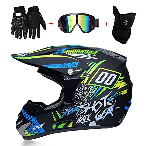 LTongx Motos Motocross Cascos Guantes Gafas estándar