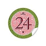 24 Adventskalenderzahlen in rosa / grün mit Ornamenten und Zahlen 1-24 im