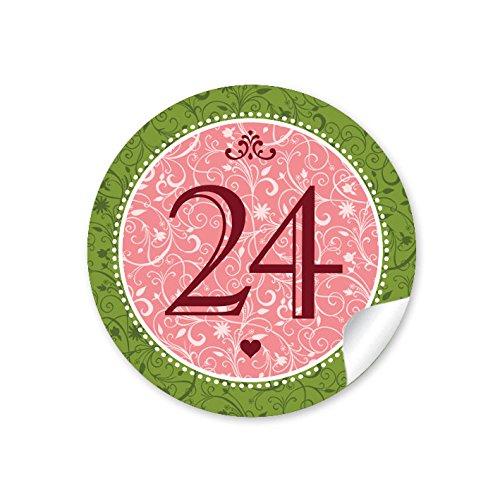 """'24Calendrier de l'Avent chiffres dans rose/vert avec ornements et chiffres 1–24dans le """"Vintage Look rétro pour un calendrier de l'avent à remplir soi-même bricolage/Sacs Papier & # x2022; autocollant de Noël: 4cm, rond, mat"""