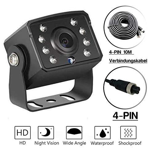 Universelle Nachtsicht-Rückfahrkamera mit Verlängerungskabel | Mehrere Schnittstellen | Mit Referenzlinie (4 Pin | HD-Infrarot-Nachtsicht | 10 Meter Verlängerungskabel)