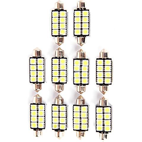 10x 42mm 10SMD White 6000K Can-bus Error Free Festoon 5050 LED Bulbs For Car Interior Lights Dome Light Map Light Side Marker Number Plate Lighting