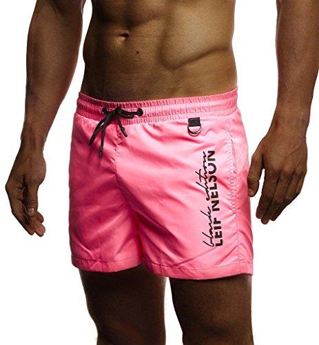 Leif Nelson Herren Sommer Badehosen Badeshorts Schwimmhose Schwimmshorts Beachshorts Strand Shorts Kurze Hosen Freizeithosen Jogginghose Cargo Hose Bermuda Chino LN9215; X-Large; Pink