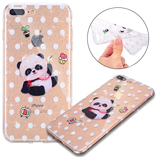 Custodia iPhone 7 Plus, Case Cover iPhone 8 Plus in Silicone Glitter TPU, Surakey Bumper iPhone 7 / 8 Plus Cover Morbida Gomma Premium Semi Hybrid Crystal Clear Cassa del Telefono con Disegno Cartoon Panda