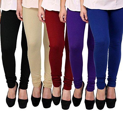 M.G.R Women\'s Cotton Lycra Churidar Leggings Combo (Pack of 5 Purple ,Blue ,Red ,Beige ,Black) - Free Size