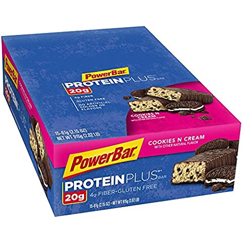 PowerBar 20g Protein Plus Bars, Cookies and Cream, 2.15 Ounce Bars (Pack of 15)