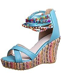 Sandalias del alto talón para mujer,Sonnena Zapatos bohemios de mujer de moda Sandalias con cuentas hechas a mano de cuñas planas