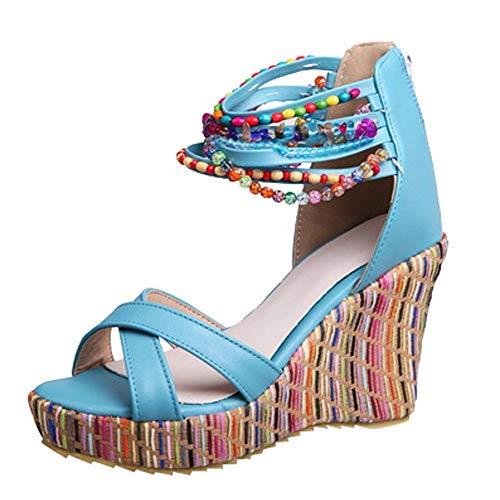 Btruely Sandalias Planas Bohemias Zapatos Hombre Casuales Calzado Chancletas Tacones Sandalias Romanas Chanclas de señoras Sandalias Verano Mujer 2019