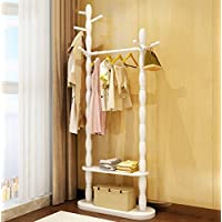 TINGTING Floor Standing Hat And Coat Stand Single And Double Multi-functional Shelves  Birch 2 Colors