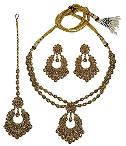 Matra Ethnic Traditional New Indian Goldtone 3 Pieces Necklace Set Bridal Women Jewellery