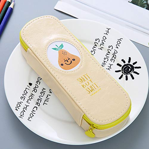ASKHY Federmäppchen Pu-Leder Obst Federmäppchen Niedlich Student Bleistift Tasche Schreibwaren Schulmaterial Bleistift Box,Duftende Birne -