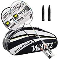 WHIZZ Set of 2x Adult Y70 Graphite Badminton Rackets 85g, Plus Large Racquet Bag With Space For Shoes, Including 2x Breathable Racket Handle Grip Tapes