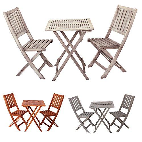 """Tavolo da giardino con sedie pieghevoli in legno """"Demeter"""" - set di mobili arredamento - arredo esterno - Set da giardino tavolo sedie - campeggio - molti colori - basso - resistente alle intemperie (Bianco Vintage)"""