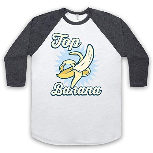 Top Banana Funny 3/4 Hulse Retro Baseball T-Shirt Weis & Dunkelgrau