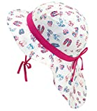 EveryHead Fiebig Babyflapper Mädchenmütze Nackenschutzhut Nackenschutzmütze Sommerhut Sommermütze Flapper Flip Flops für Babys (FI-83861-S18-BM0-10-49/51) in Pink, Größe 49/51 inkl Hutfibel