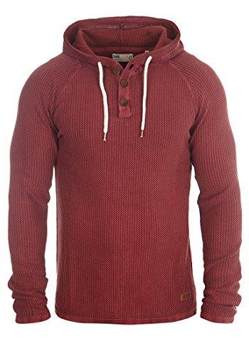 !Solid Ten Herren Strickpullover Kapuzenpullover Feinstrick Pullover Mit Kapuze Und Knopfleiste Aus 100% Baumwolle, Größe:M, Farbe:Wine Red (0985)