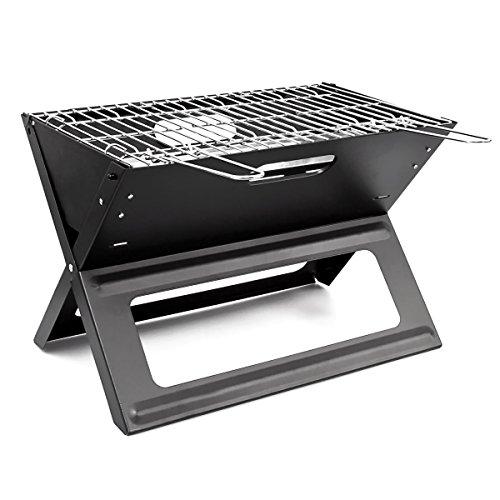 51ARt8ZzxBL - Relaxdays Klappgrill, praktisch, tragbar, inkl. Rost und Kohleschale, H x B x T: 30,5 x 30 x 45,5 cm, schwarz