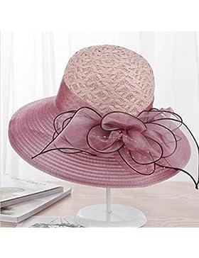 MLNR Sombrero para el sol Encaje hueco Paja sombreros Algodón y lino Flores Visor Protección solar Sombrero de...