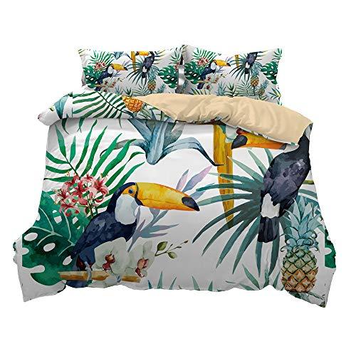 Queen Quilt Bettwäsche (Pterygoid Collection Sehr Weich Stoff Toucan Stil Quilt Bettbezug Set Parrot Design Bettwäsche Sets enthalten Bettbezug Kopfkissen in Single Queen King Size, King(240x220 cm)-fit for 1.5/1.8 M Bed)