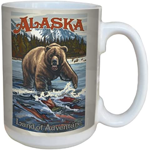 Tree-Free Greetings lm43108 Vintage Alaska Grizzly Bear with Salmon by Paul A. Lanquist Ceramic Mug with Full-Sized Handle, 15-Ounce, Multicolored by Tree-Free Greetings - Salmon Gift Box