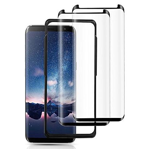 Verre Trempé Samsung Galaxy S8 - 2 Pack TOPLUS Film Protection S8 3D Incurvé Anti-casse avec Kit d'installation Offert (Noir)