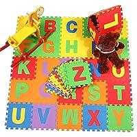 JJOnlineStore - 36x, Soft Eva Foam Alphabet Mat for Toddler, Multicolour [Anti-Slip] Alphabet Playmat for Baby, 15x15cm
