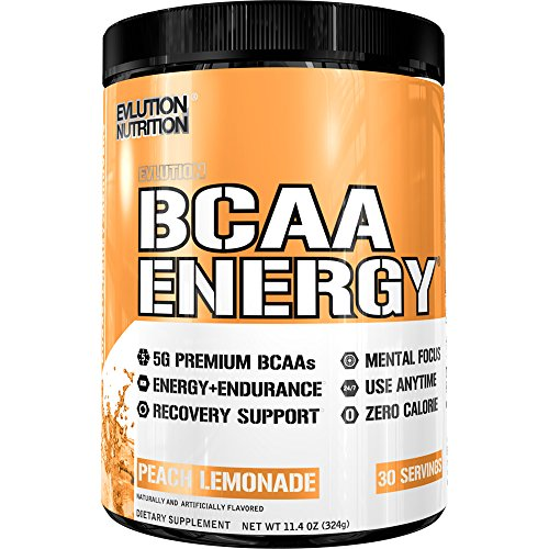 Evlution Nutrition BCAA Energy - High Performance, Energizing Amino Acid Supplement for Muscle Building, Recovery, and Endurance (30 Servings) Peach Lemonade