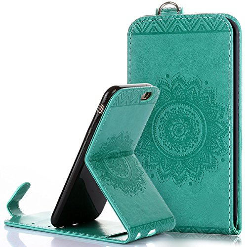 Custodia iPhone 6/6S 4.7,Ukayfe Flip Cover Case Custodia per iPhone 6/6S 4.7 in pelle PU,iPhone 6/6S 4.7 Lussuosa Astuccio Custodia Cover [PU Leather] [Shock-Absorption] Protettiva Portafoglio Cover C Verde